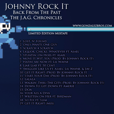 """Back From The Past"" mixtape back cover Hip-Hop artist Johnny Rock It"