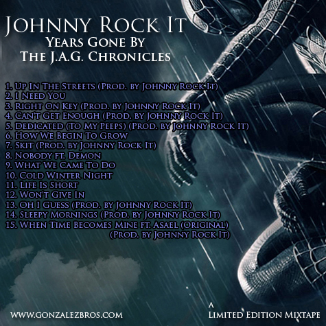"Rapper Johnny Rock It ""Years Gone By"" mixtape back cover"