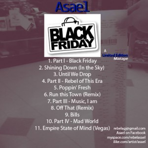 Back cover Black Friday mixtape by Asael